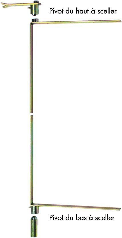 Ferrure de volet et portail : Pivot à équerre sur chant 40 cm