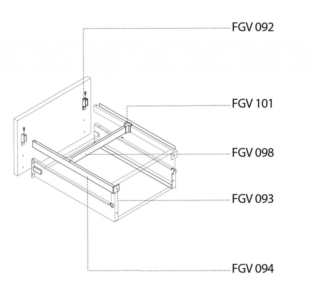 Côté de tiroir simple paroi : Accessoires blanc pour Uniset