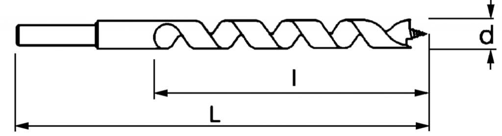 Mèche à bois : Queue cylindrique réduite - série longue