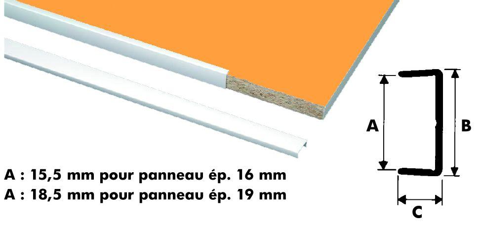 Profil d'habillage pour chant : Profilé plastique blanc : chant U rigide