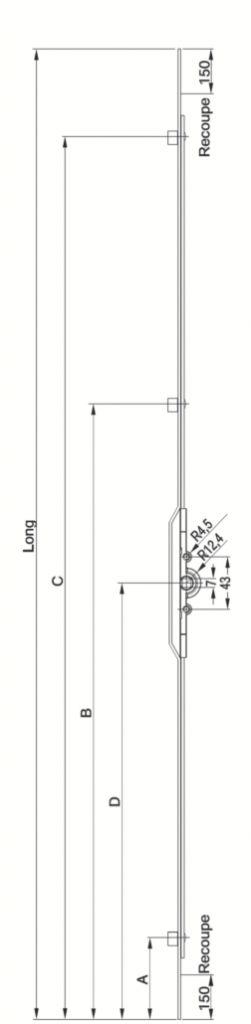 Crémone à entailler : Jet 7,5 - cote D 1/2
