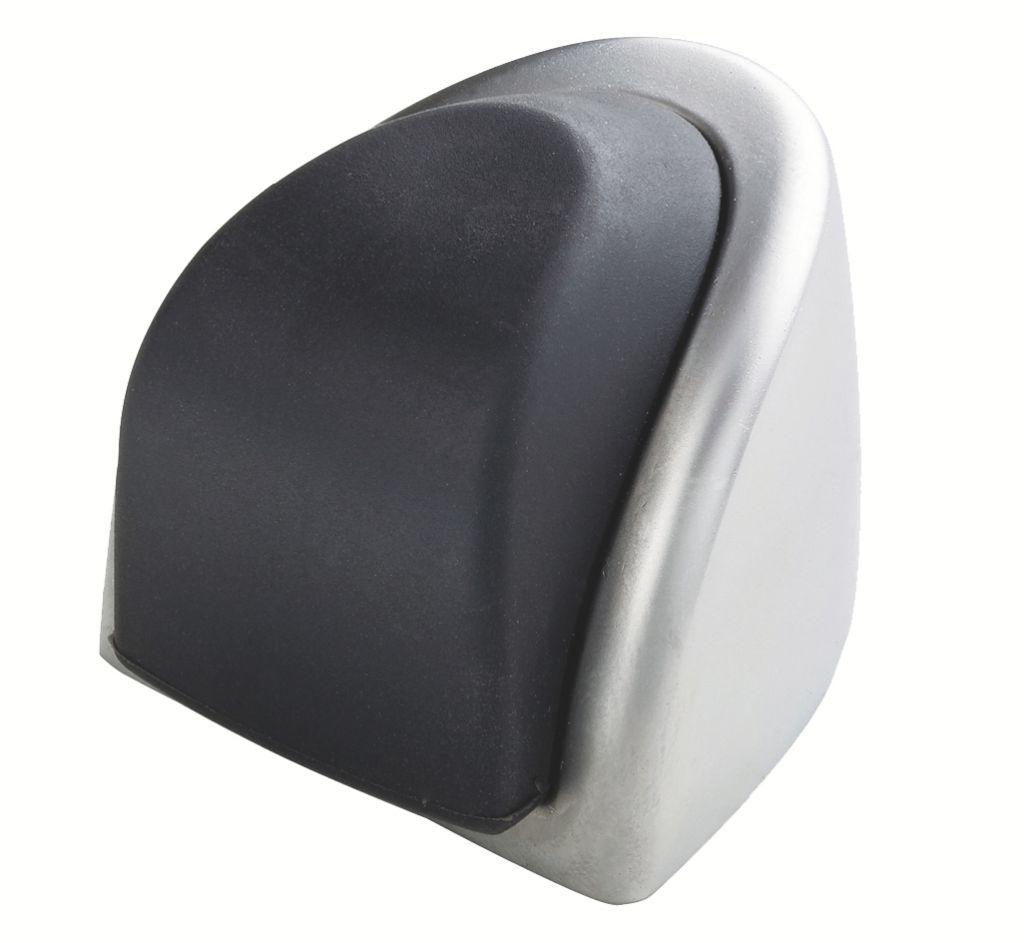 Butoir de porte : Pour fixation au sol - chromé velours et caoutchouc