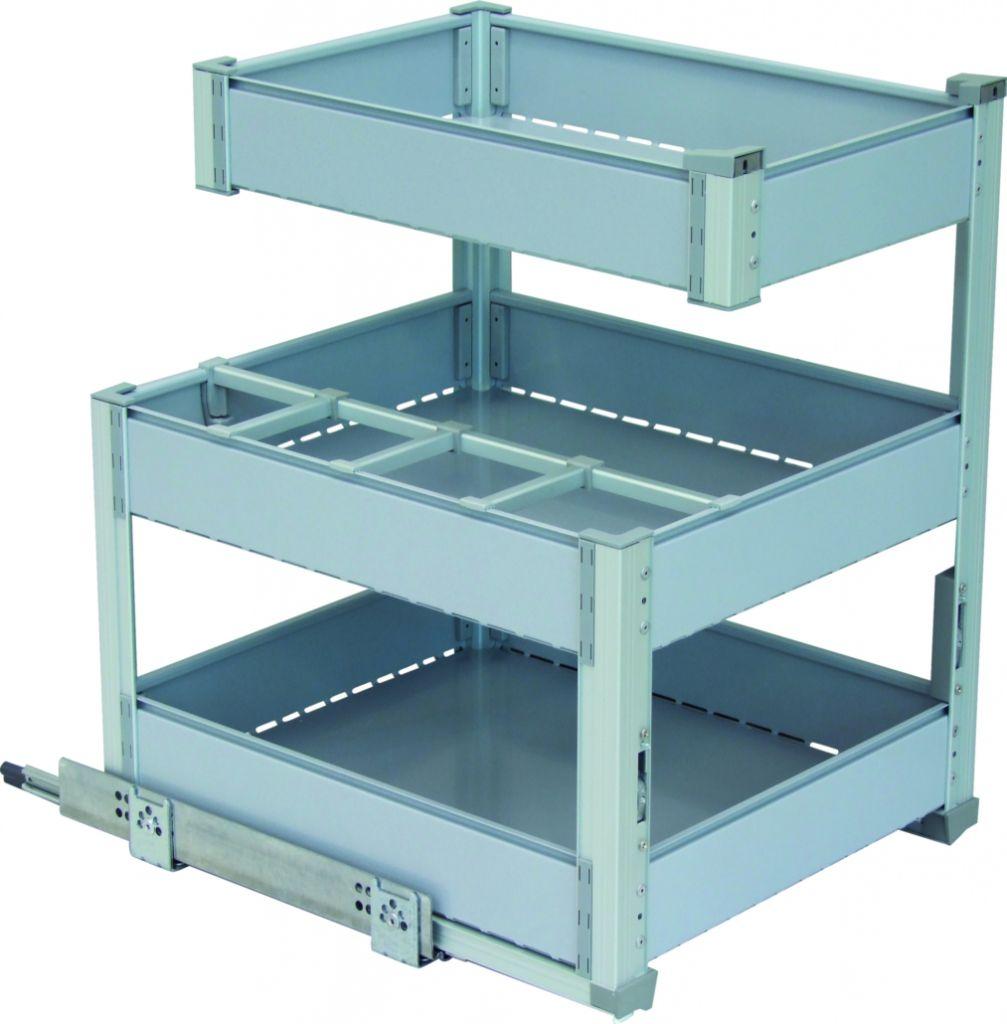 Agencement de cuisine : Bouteilles + 3 niveaux de rangement