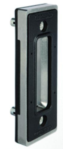Serrure pour portail coulissant : Gâche plate + butée de porte