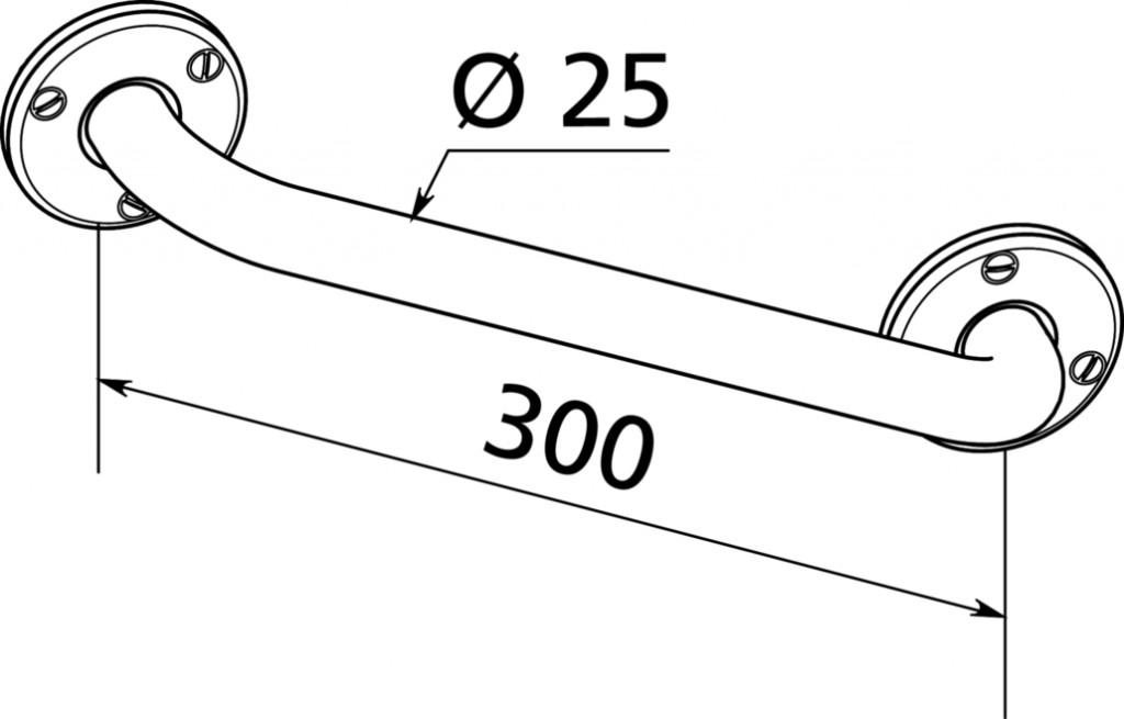 BARRE DE RELEVEMENT INOX D25 LG300