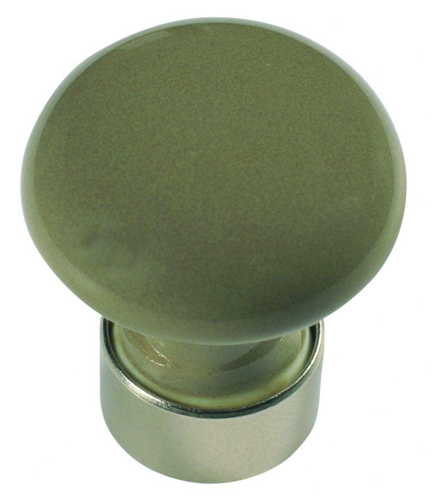 Garniture classique : Bombé - porcelaine de couleurs - monture nickelé mat ø 30 mm