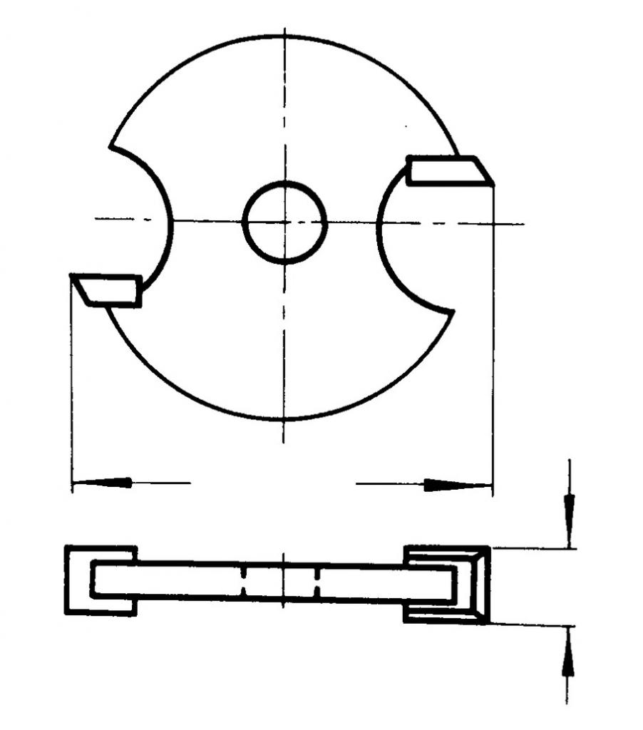 Fraise à bois : Disque à rainer carbure 2 coupes pour arbre porte-disque
