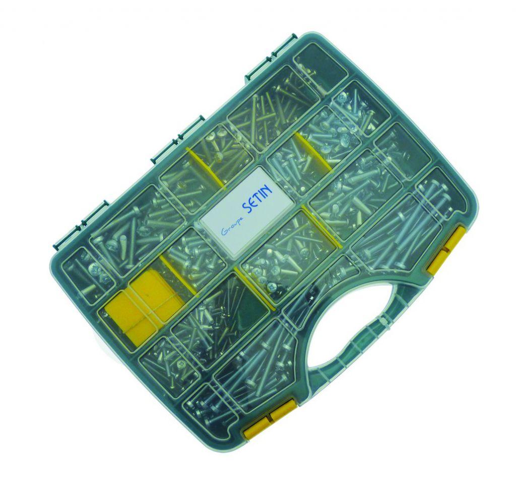 Vis métaux : Coffret 700 vis métaux acier zingué blanc - DIN 7985
