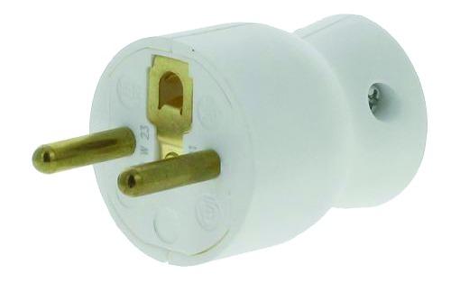Fiche et prolongateur : 2 P + T - 16A - plastique blanc