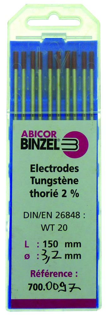 Métal d'apport Tig : Acier/ inox - tungstène thorié 2 % (bout rouge)