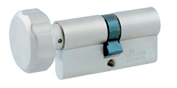 Cylindre européen 5 goupilles : Cylindre à bouton laiton nickelé