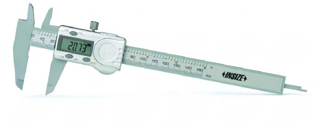 Pied à coulisse digital pour mesure intérieure et extérieure : Plastique dur - lecture 0,01 mm