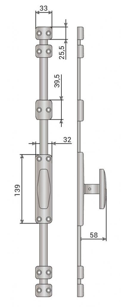 CREMONE MAP BTON CHROME N°3 16X6