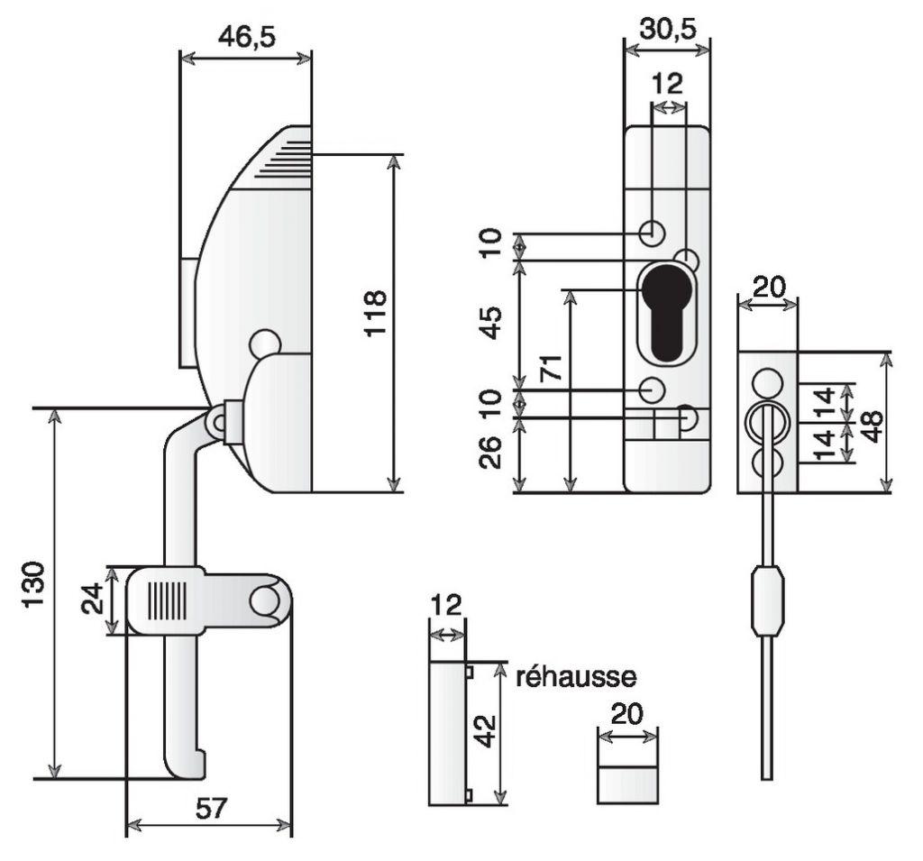 Accessoire de porte : Pour fenêtre 1 ou 2 vantaux - alliage moulé condamnable