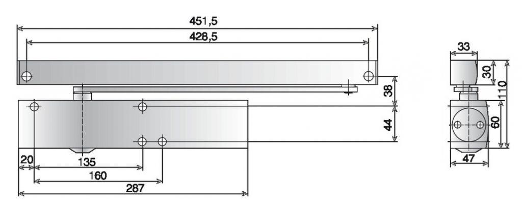 FERME PORTE TS5000 ECLINE 3/5 BLC