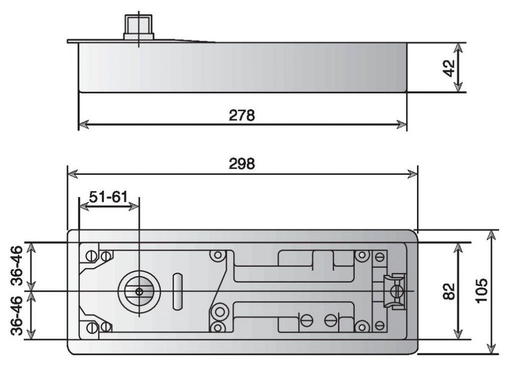 PIVOT NU TS500NV AXE RECTANGULAIRE