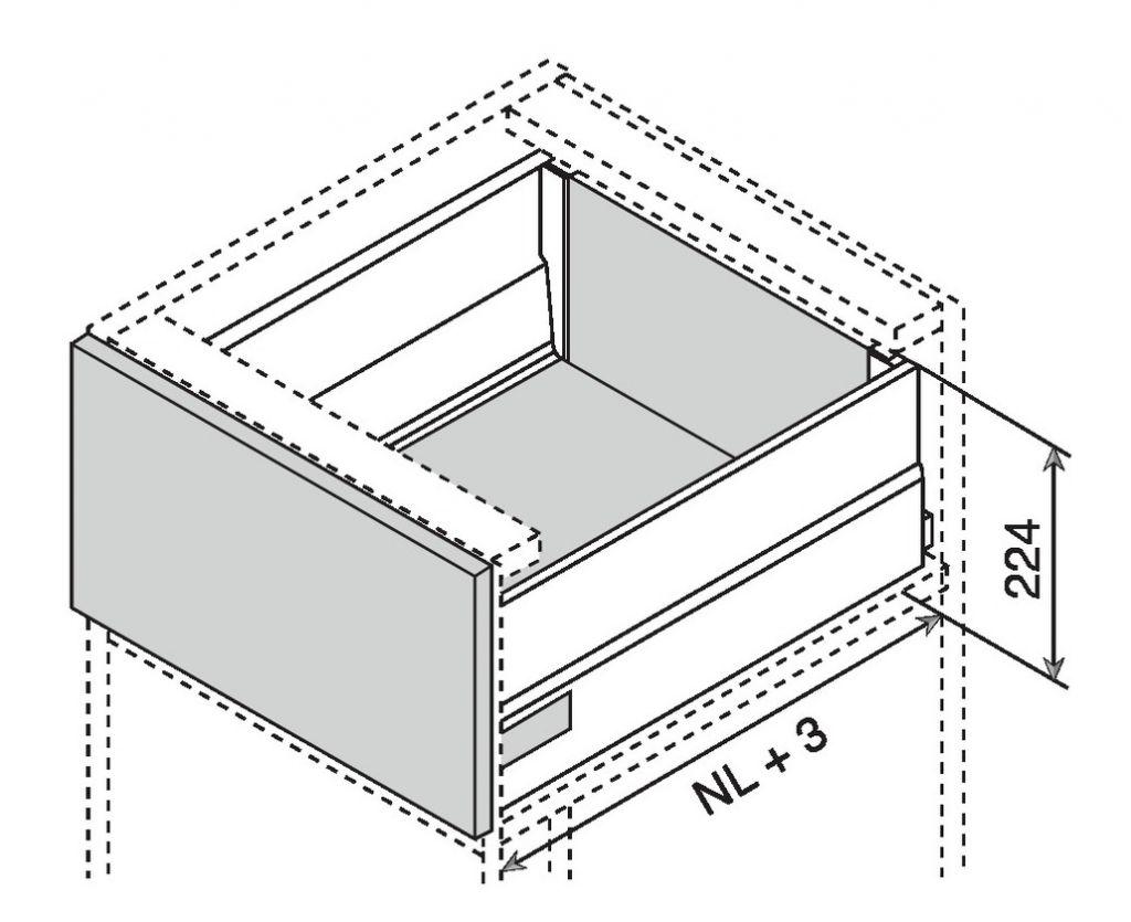 Kit tiroir double paroi Blum - intivo - TIP-ON : Kit intivo TIP-ON BOXCAP hauteur D : 224 mm - inox