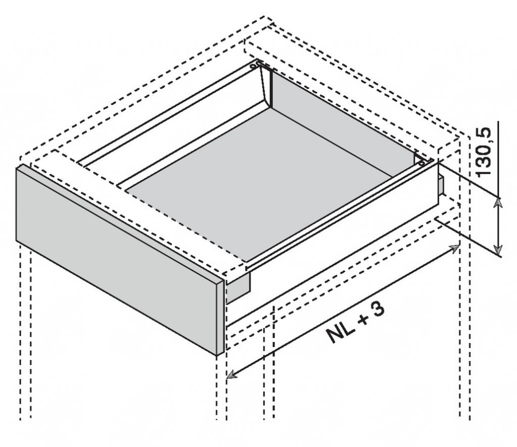 Kit tiroir double paroi Blum - antaro - TIP-ON : Kit antaro TIP-ON hauteur K : 130,5 mm - gris