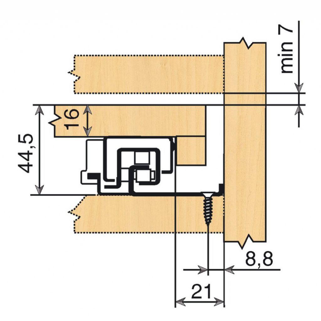 Coulisse invisible pour tiroir bois : Sortie totale MOVENTO 760 BU - BLUMOTION intégré