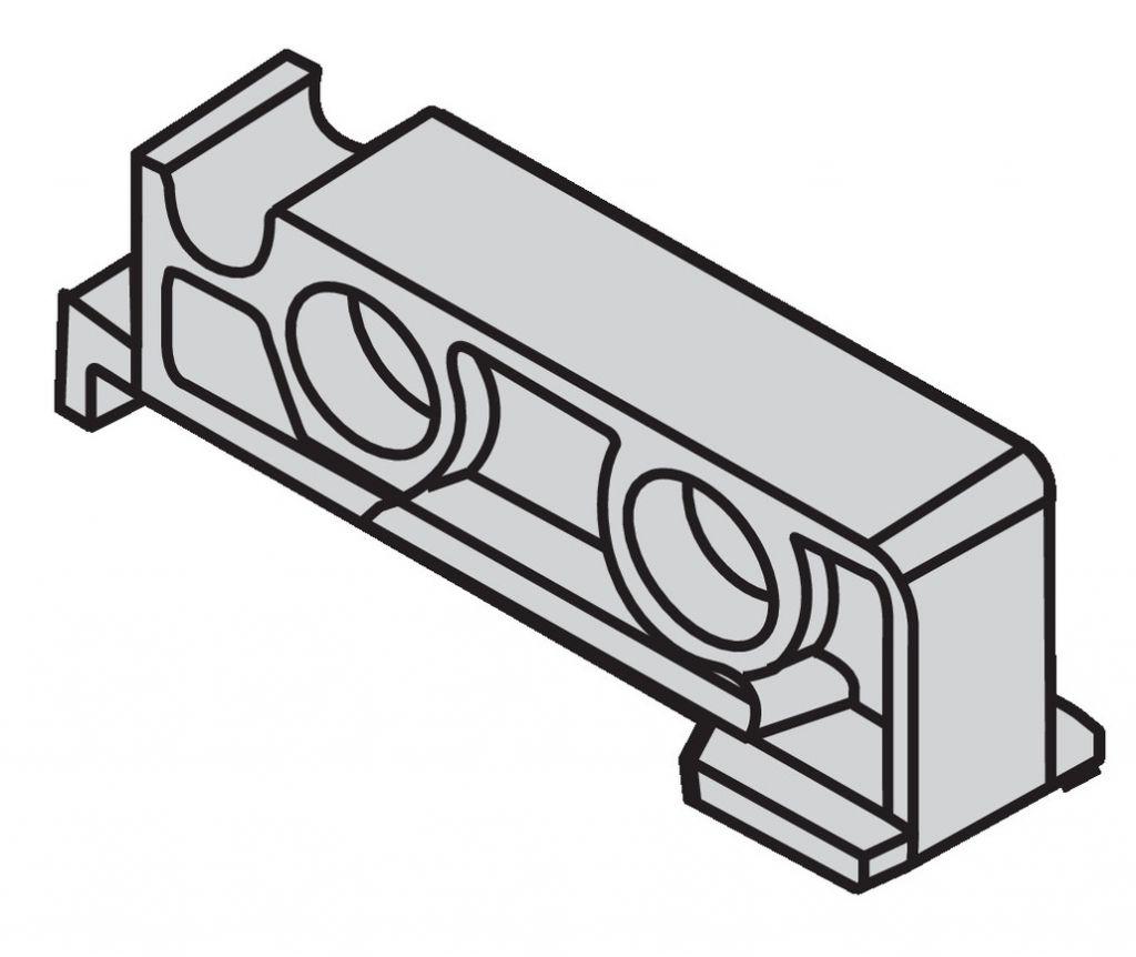 Coulisse invisible pour tiroir bois : Attache arrière MOVENTO pour tablette coulissante