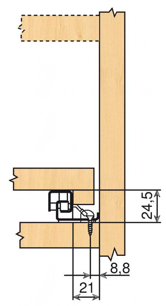Coulisse invisible pour tiroir bois : Sortie totale 560 BU - BLUMOTION intégré