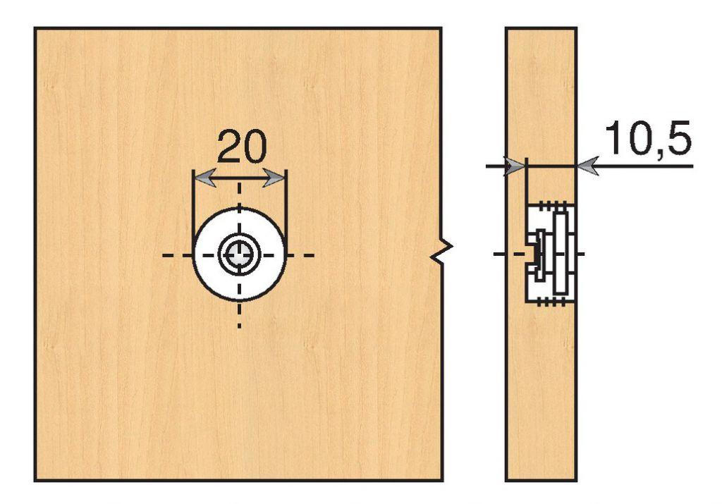 Coulisse invisible pour tiroir bois : Ferrure de réglage de face à frapper