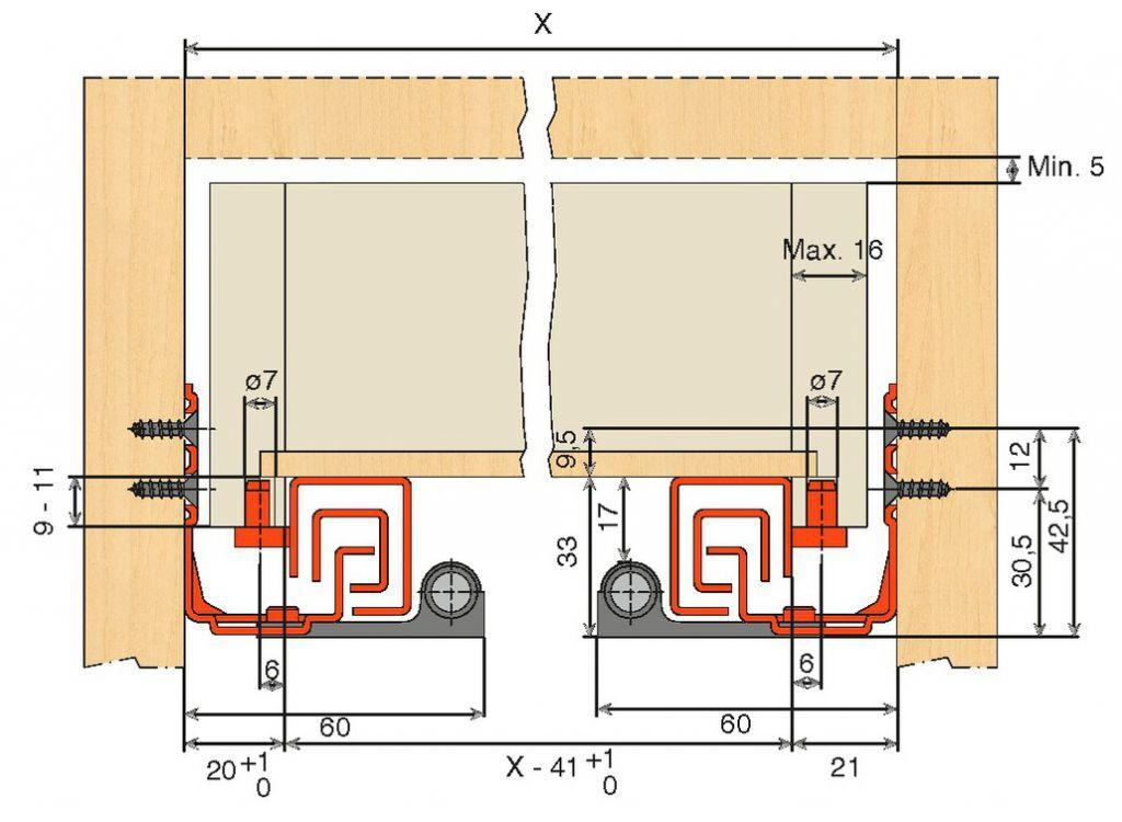 Coulisse invisible pour tiroir bois : Coulisse invisible Push / Smove - Unica charge 30 kg dynamique