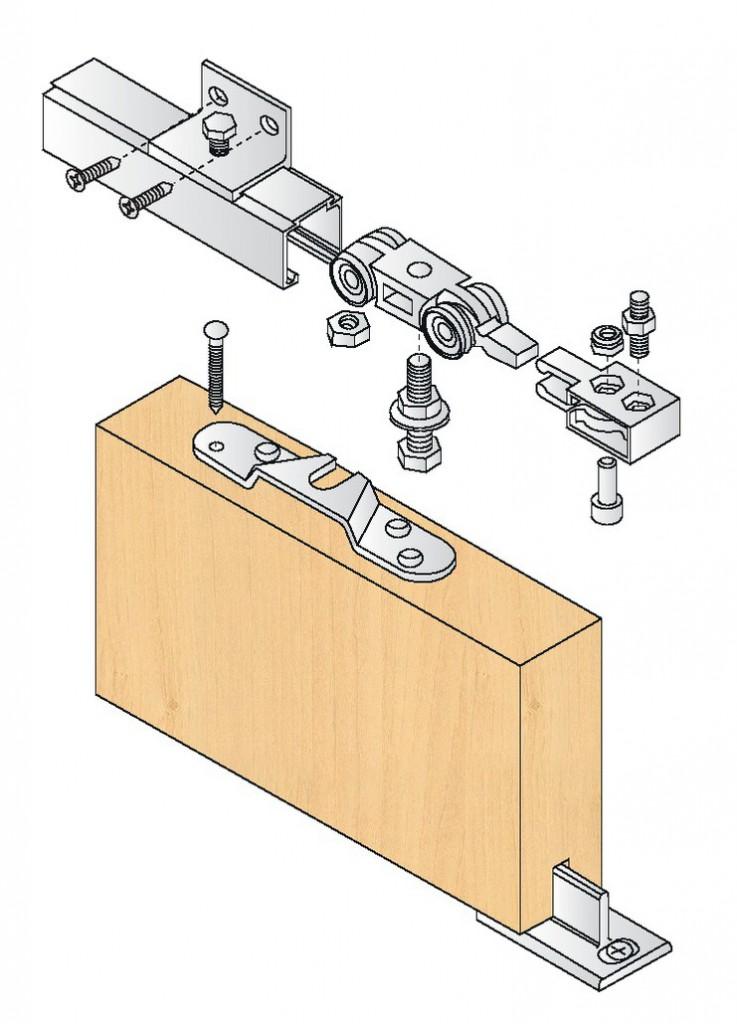 Coulissant porte intérieure bois : Kit complet série 400