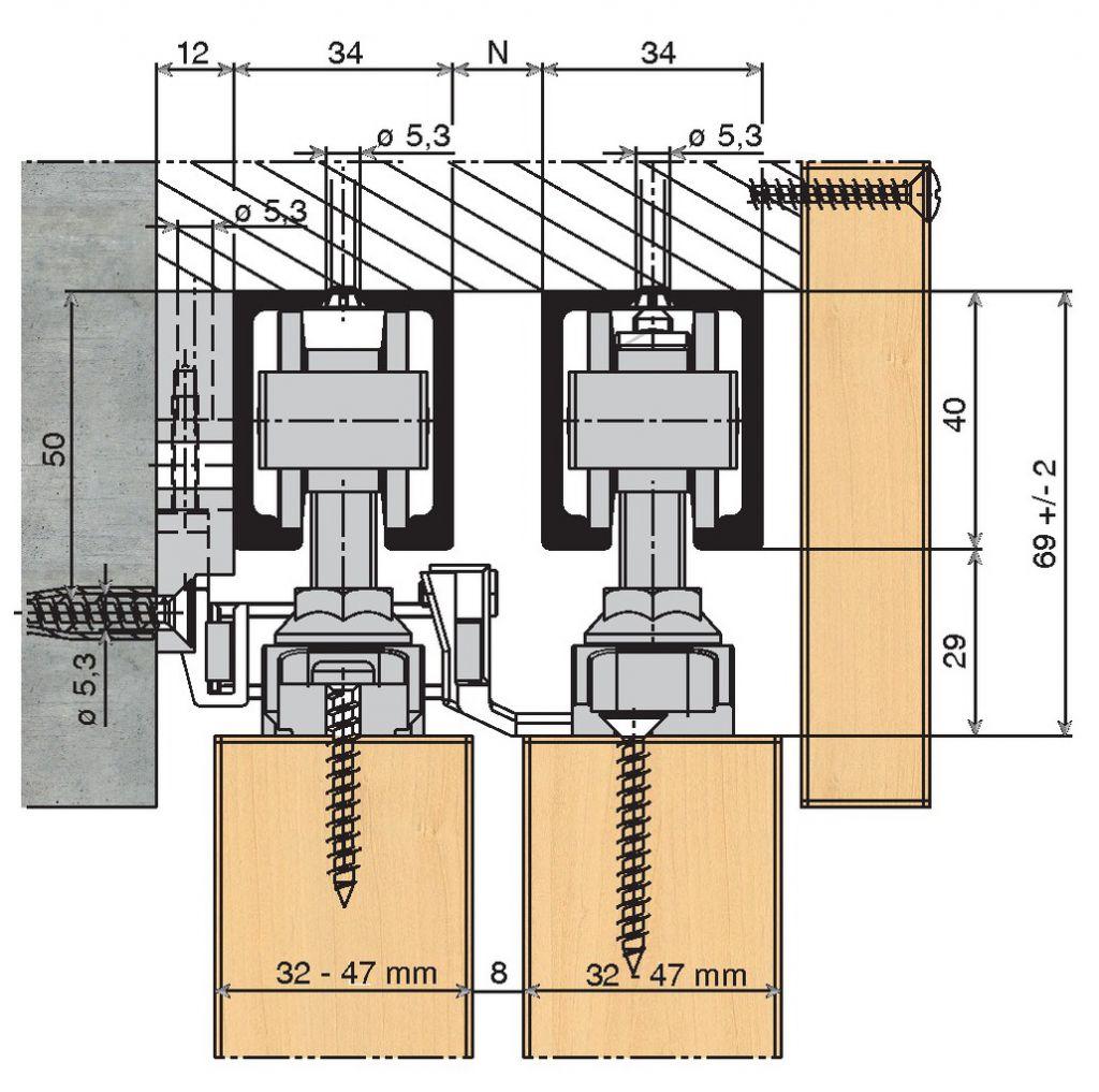 FERRURE TELESCOPIC 2 VTX  80/2