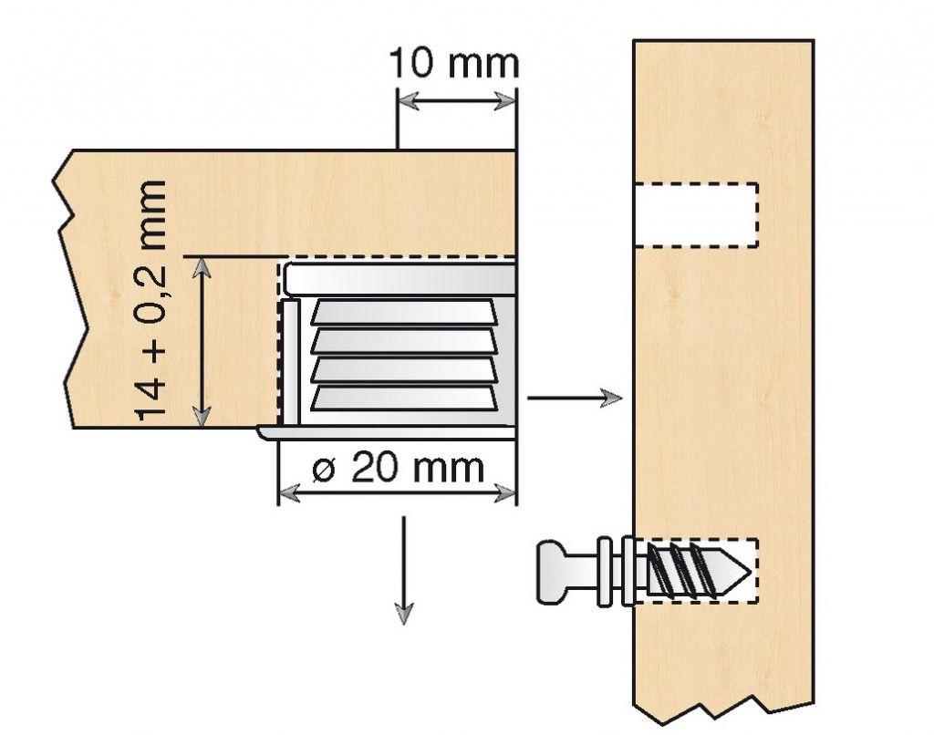 FERRURE TYPE VB35 P/19MM NICK(X100)