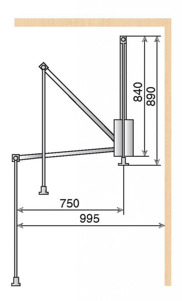 ELEVATEUR GARDE ROBE 660-890MM