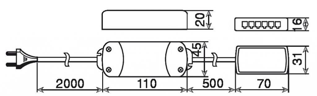 TRANSFO LED 12V 15WATTS FIL 2000MM