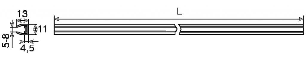 PROFIL ALU/LED P/TAB.VERRE LG 560MM