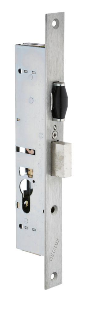 Serrure pour menuiserie métallique : 3 points - 1 latéral + haut et bas - pêne dormant et rouleau