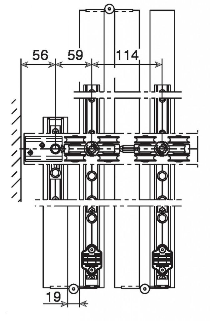 Coulissant pliant pour porte intérieure bois : Centerfold 80/H / 80 kg - sans rail bas