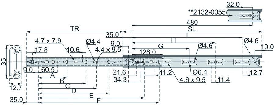 Coulisse à bille et bois : Sortie partielle DB 2132 / 33 - 35 kg