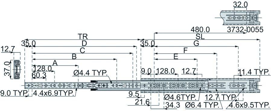 Coulisse à bille et bois : Sortie totale DZ 3732 / 40 kg