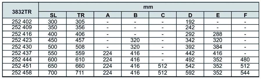 Coulisse à bille et bois : Sortie totale DB 3832 TR / 42 - 45 kg