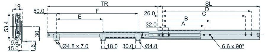 Coulisse à bille et bois : Sortie totale DZ 3301-60 / 50 - 60 kg