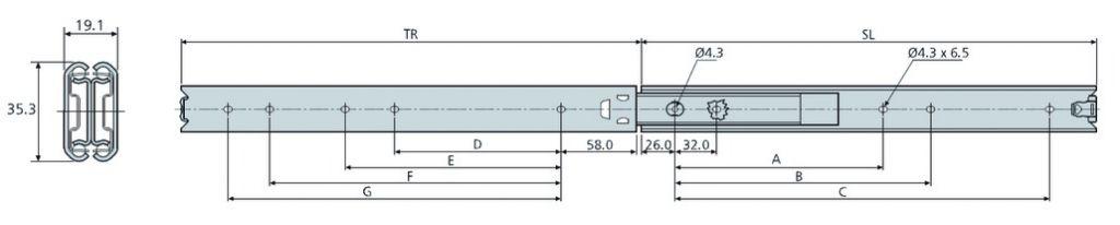 Coulisse à bille et bois : Sortie totale DS 0330 / 50 - 65 kg