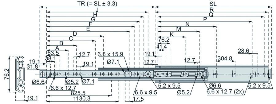 Coulisse à bille et bois : Sortie totale DZ 9301 / 154 - 227 kg