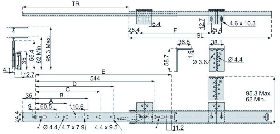Coulisse pour support clavier : Coulisse DZ 2109 pour clavier