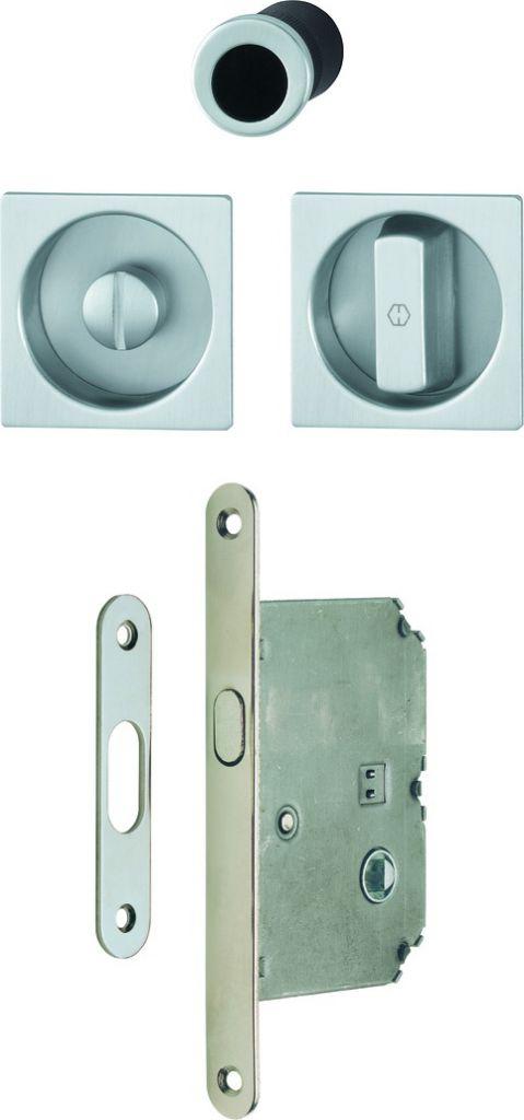 Serrure de porte coulissante : Set porte coulissante aluminium - à condamnation - modèle 4921
