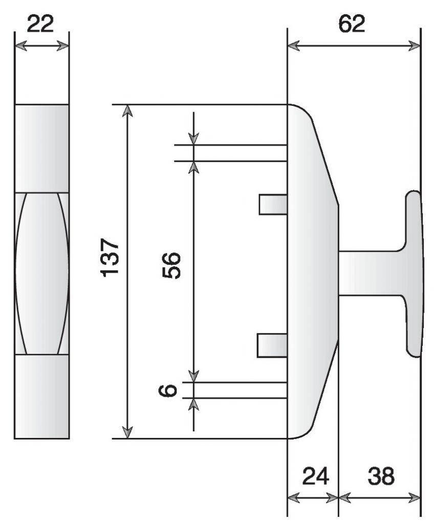 Crémone en applique : A tringle en feuillure