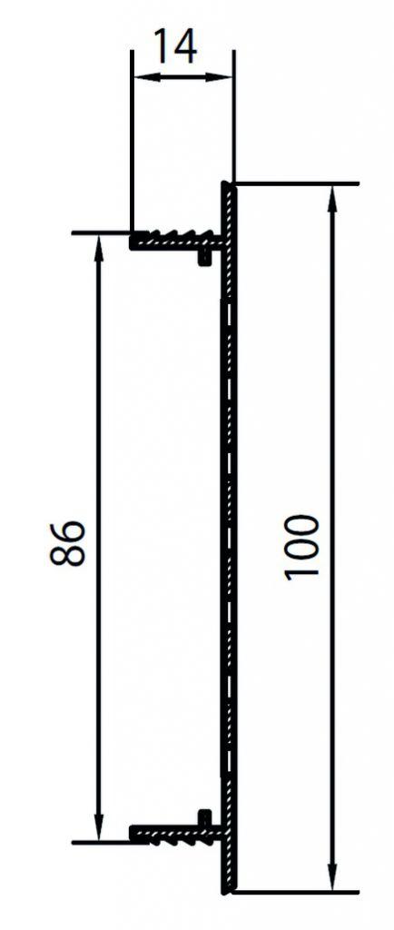 GRILLE D'AERATION ARGENT 100X2000MM