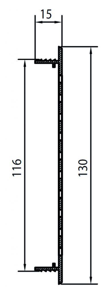 GRILLE VENTIL.ARGENT EG 130X2M