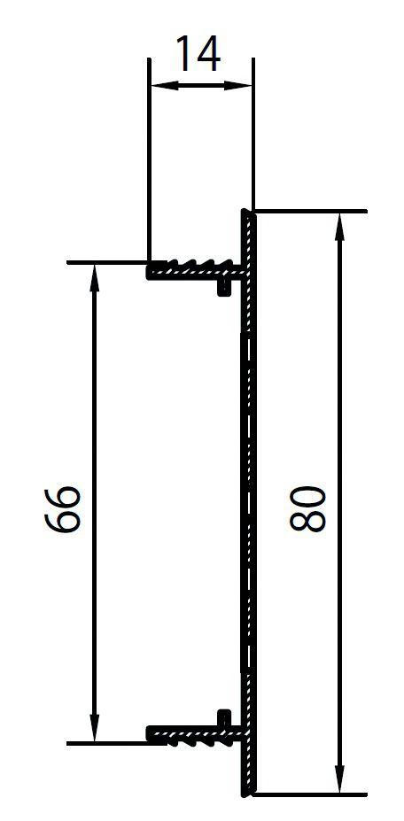 GRILLE D'AERATION ARGENT  80X300MM
