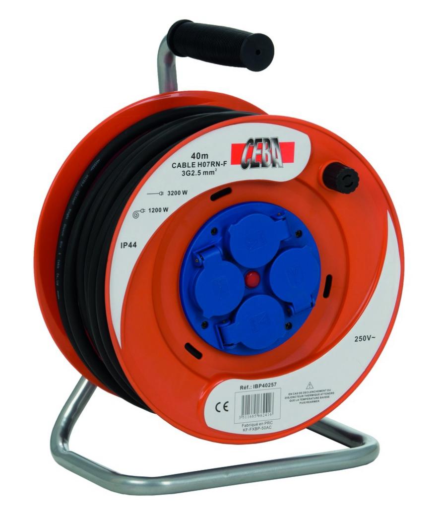 Enrouleur - prolongateur : Série IBP - câble HO7 RN-F avec disjoncteur thermique
