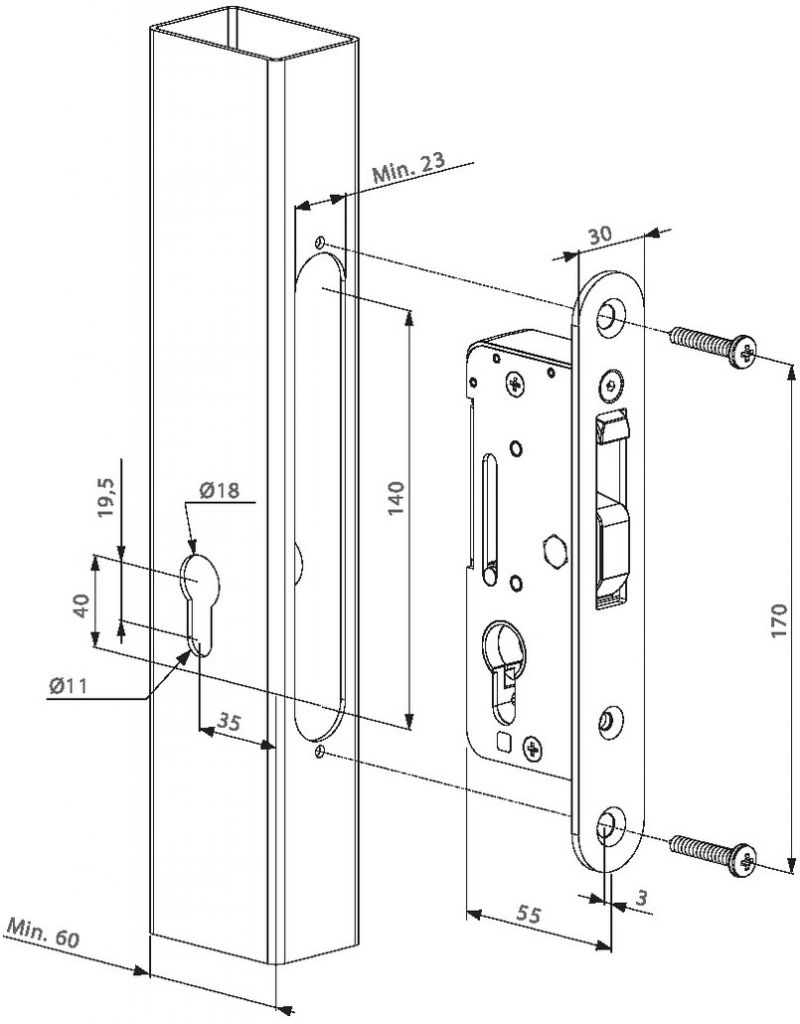 Serrure de grille à larder : Serrure à larder à crochet - H-Compact