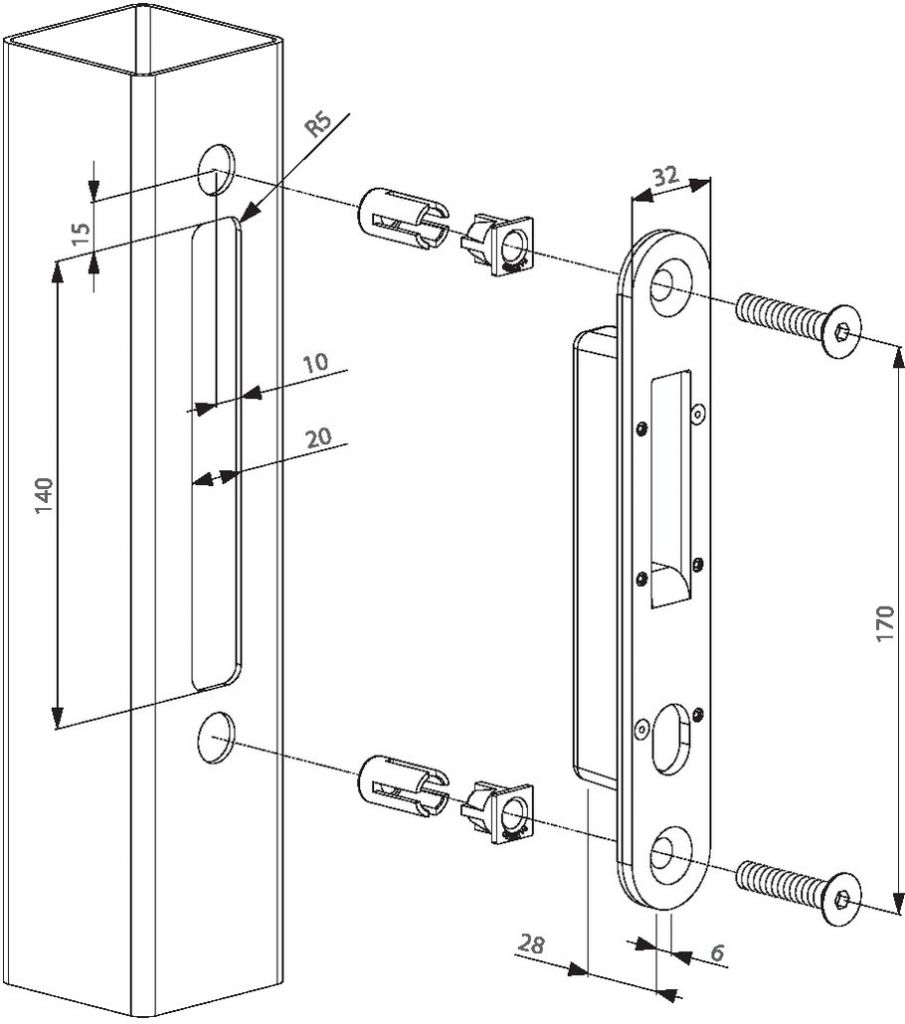 Serrure de grille à larder : Gâche pour serrure à crochet H-Compact
